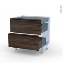 IPOMA Noyer - Kit Rénovation 18 - Meuble casserolier - 2 tiroirs - 1 tiroir anglaise - L80xH70xP60