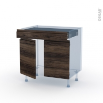 IPOMA Noyer - Kit Rénovation 18 - Meuble bas cuisine  - 2 portes 1 tiroir - L80xH70xP60