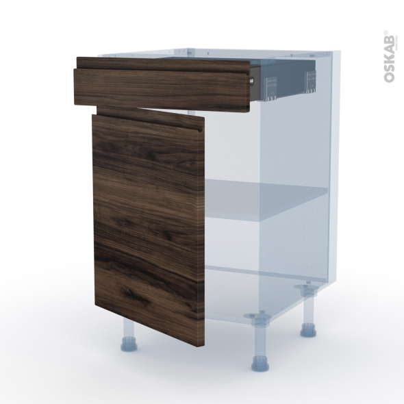 IPOMA Noyer - Kit Rénovation 18 - Meuble bas cuisine  - 1 porte 1 tiroir - L50xH70xP60