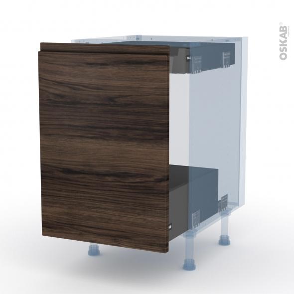 IPOMA Noyer - Kit Rénovation 18 - Meuble bas coulissant  - 1 porte -1 tiroir anglaise - L50xH70xP60
