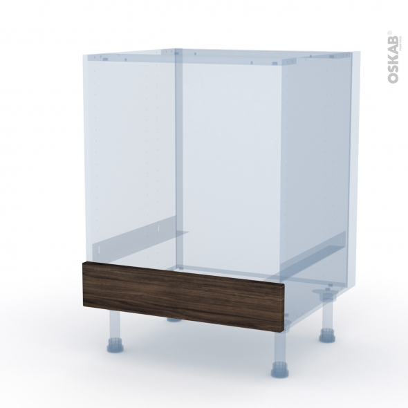 IPOMA Noyer - Kit Rénovation 18 - Meuble bas four  - bandeau bas - L60xH70xP60
