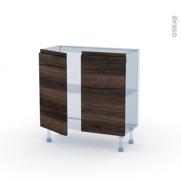 IPOMA Noyer - Kit Rénovation 18 - Meuble bas prof.37  - 2 portes - L80xH70xP37,5