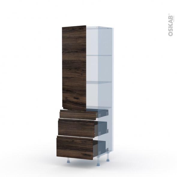 IPOMA Noyer - Kit Rénovation 18 - Armoire étagère N°2758  - 3 tiroirs casserolier - L60xH195xP60