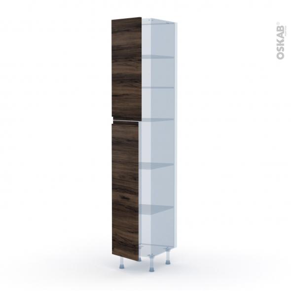 IPOMA Noyer - Kit Rénovation 18 - Armoire étagère N°2326  - 2 portes - L40xH217xP60