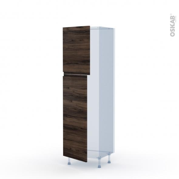 IPOMA Noyer - Kit Rénovation 18 - Armoire frigo N°2721  - 2 portes - L60xH195xP60