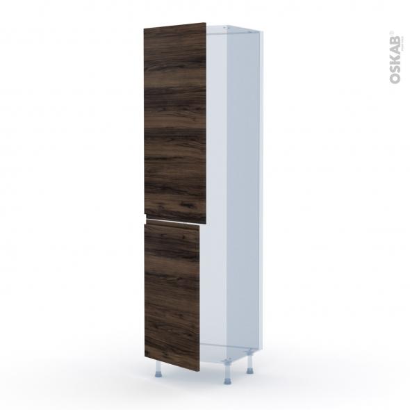 IPOMA Noyer - Kit Rénovation 18 - Armoire frigo N°2724  - 2 portes - L60xH217xP60