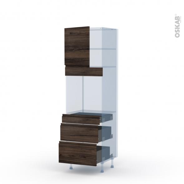 IPOMA Noyer - Kit Rénovation 18 - Colonne Four N°1658  - 1 porte 3 tiroirs - L60xH195xP60