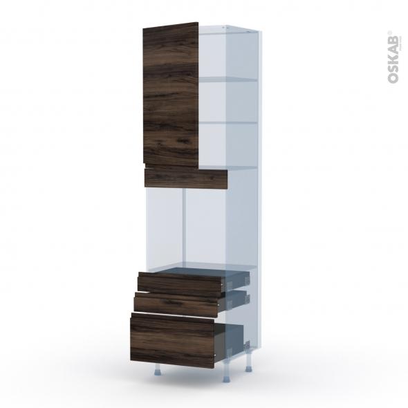 IPOMA Noyer - Kit Rénovation 18 - Colonne Four N°2459  - 1 porte 3 tiroirs - L60xH217xP60