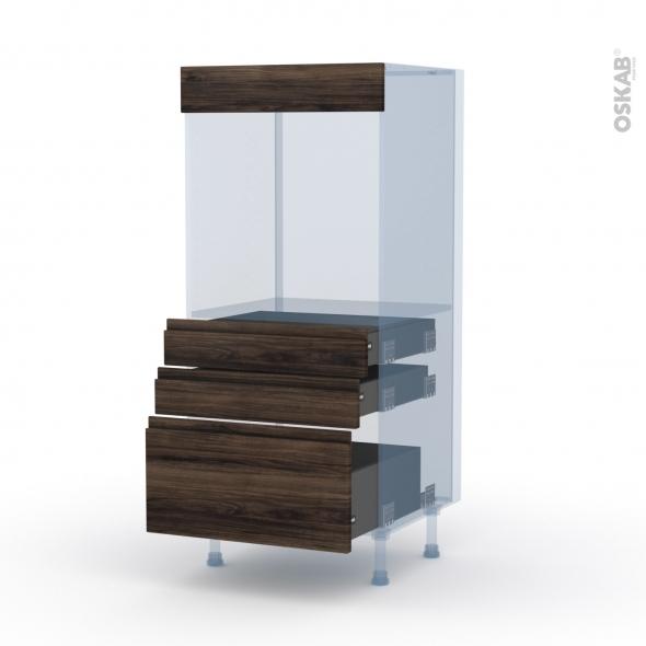 IPOMA Noyer - Kit Rénovation 18 - Colonne Four N°59  - 3 tiroirs - L60xH125xP60