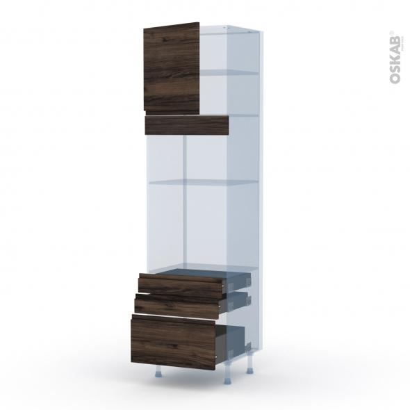 IPOMA Noyer - Kit Rénovation 18 - Colonne Four+MO 36/38 N°1659  - 1 porte 3 tiroirs - L60xH217xP60