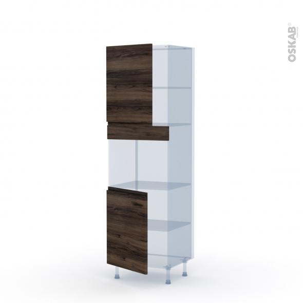 IPOMA Noyer - Kit Rénovation 18 - Colonne Four niche 45 N°2121  - 2 portes - L60xH195xP60