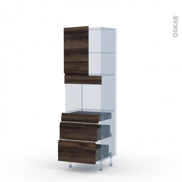IPOMA Noyer - Kit Rénovation 18 - Colonne Four niche 45 N°2158  - 1 porte 3 tiroirs - L60xH195xP60