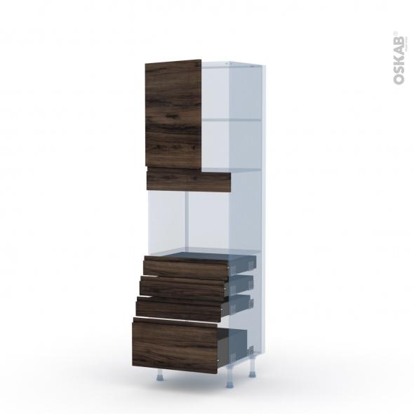 IPOMA Noyer - Kit Rénovation 18 - Colonne Four niche 45 N°2159  - 1 porte 4 tiroirs - L60xH195xP60