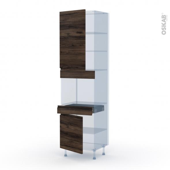 IPOMA Noyer - Kit Rénovation 18 - Colonne Four niche 45 N°2456  - 2 portes 1 tiroir - L60xH217xP60