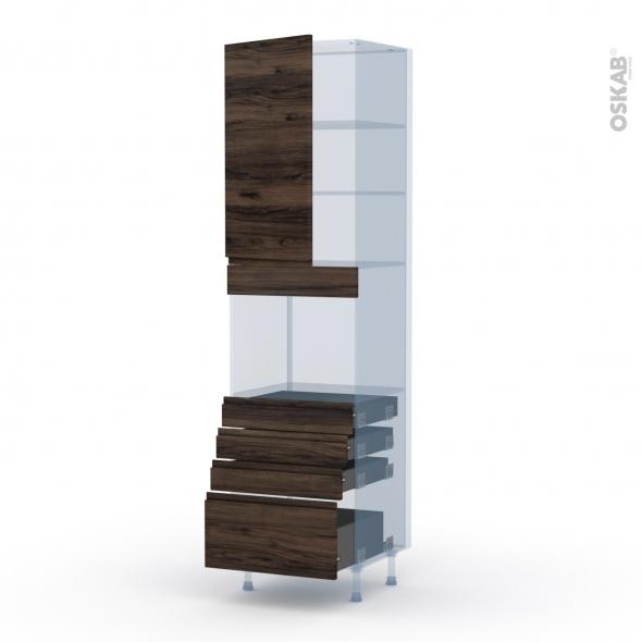 IPOMA Noyer - Kit Rénovation 18 - Colonne Four niche 45 N°2459  - 1 porte 4 tiroirs - L60xH217xP60