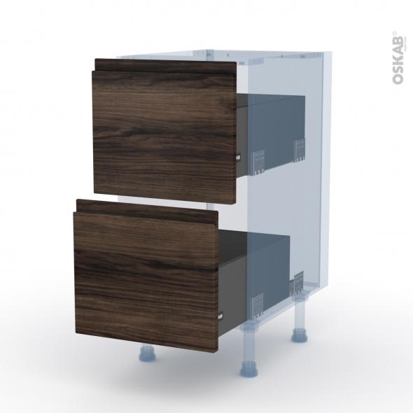IPOMA Noyer - Kit Rénovation 18 - Meuble casserolier  - 2 tiroirs - L40xH70xP60