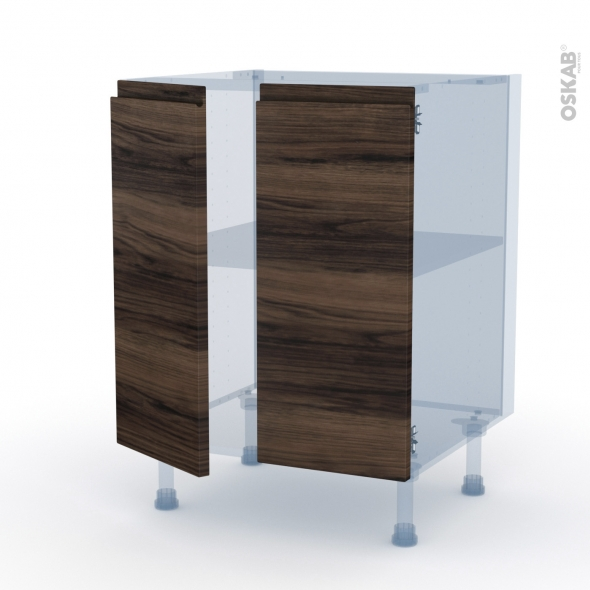 IPOMA Noyer - Kit Rénovation 18 - Meuble bas cuisine - 2 portes - L60xH70xP60