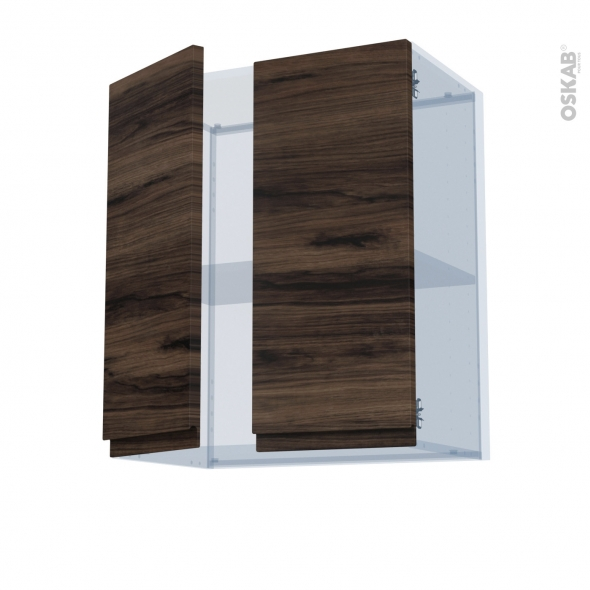 IPOMA Noyer - Kit Rénovation 18 - Meuble haut ouvrant H70 - 2 portes - L60xH70xP37,5