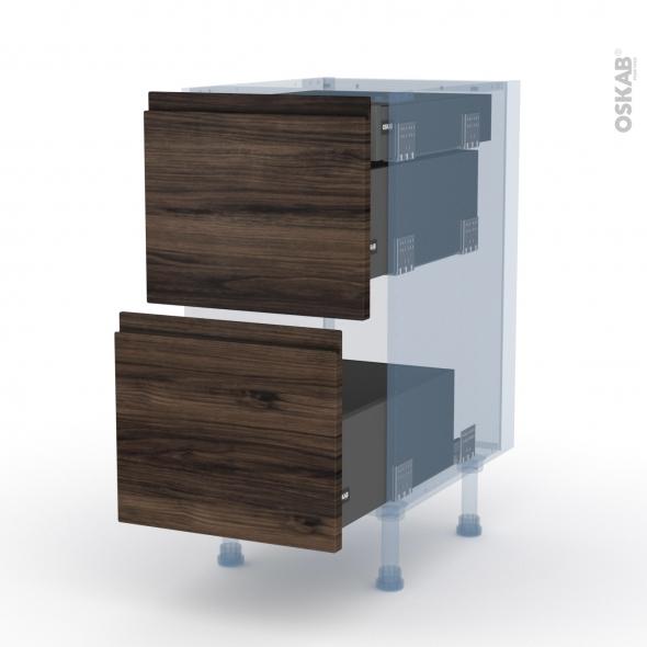 IPOMA Noyer - Kit Rénovation 18 - Meuble casserolier - 2 tiroirs-1 tiroir anglaise - L40xH70xP60