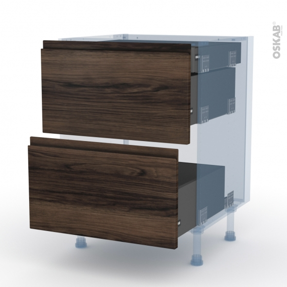 IPOMA Noyer - Kit Rénovation 18 - Meuble casserolier - 2 tiroirs-1 tiroir anglaise - L60xH70xP60
