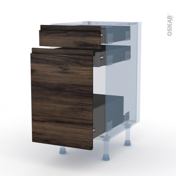 IPOMA Noyer - Kit Rénovation 18 - Meuble range épice - 3 tiroirs - L40xH70xP60
