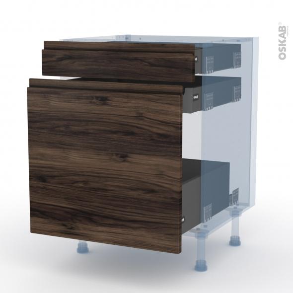 IPOMA Noyer - Kit Rénovation 18 - Meuble range épice - 3 tiroirs - L60xH70xP60
