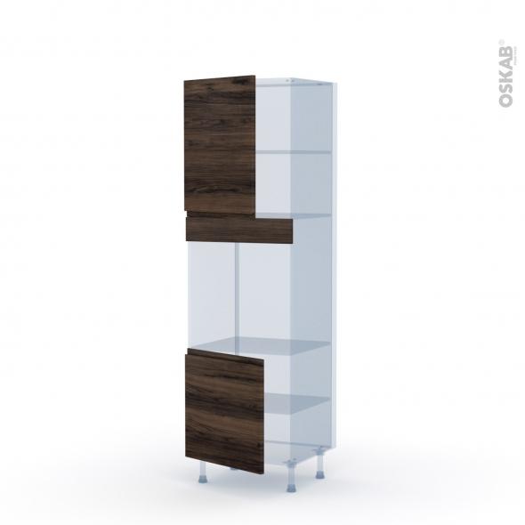 IPOMA Noyer - Kit Rénovation 18 - Colonne Four niche 60 N°2116 - 2 portes - L60xH195xP60