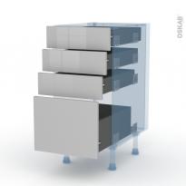 IVIA Gris - Kit Rénovation 18 - Meuble casserolier  - 4 tiroirs - L40xH70xP60