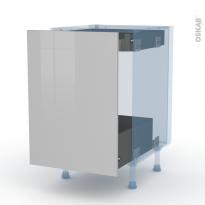 IVIA Gris - Kit Rénovation 18 - Meuble bas coulissant  - 1 porte -1 tiroir anglaise - L50xH70xP60