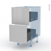 IVIA Gris - Kit Rénovation 18 - Meuble casserolier  - 2 tiroirs - L40xH70xP60
