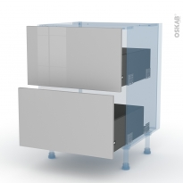 IVIA Gris - Kit Rénovation 18 - Meuble casserolier  - 2 tiroirs - L60xH70xP60
