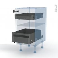 IVIA Gris - Kit Rénovation 18 - Meuble bas - 2 tiroirs à l'anglaise - L40xH70xP60