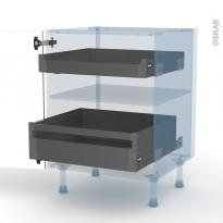 IVIA Gris - Kit Rénovation 18 - Meuble bas - 2 tiroirs à l'anglaise - L60xH70xP60