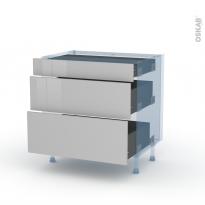 IVIA Gris - Kit Rénovation 18 - Meuble casserolier - 3 tiroirs - L80xH70xP60
