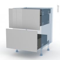 IVIA Gris - Kit Rénovation 18 - Meuble casserolier - 2 tiroirs-1 tiroir anglaise - L60xH70xP60
