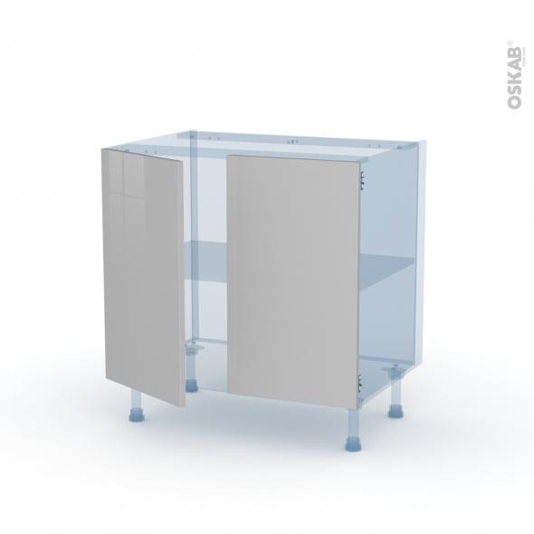 IVIA Gris - Kit Rénovation 18 - Meuble bas cuisine  - 2 portes - L80xH70xP60