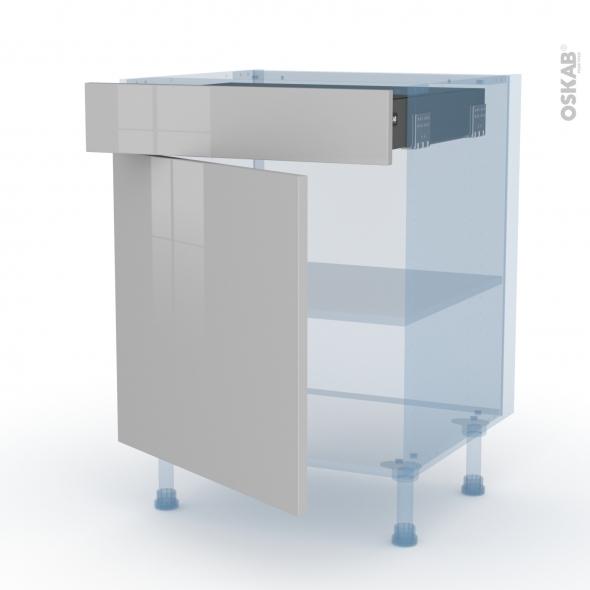 IVIA Gris - Kit Rénovation 18 - Meuble bas cuisine  - 1 porte 1 tiroir - L60xH70xP60