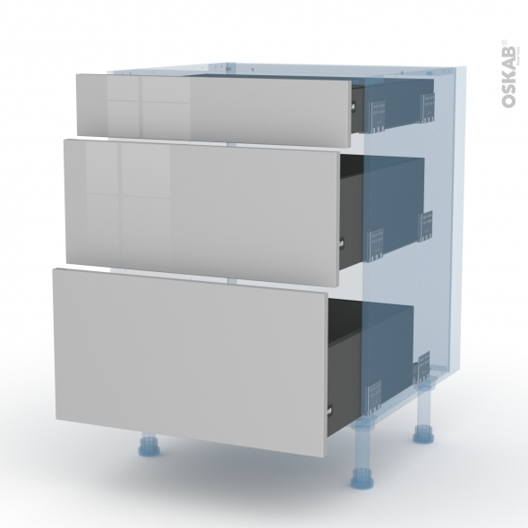 IVIA Gris - Kit Rénovation 18 - Meuble casserolier  - 3 tiroirs - L60xH70xP60
