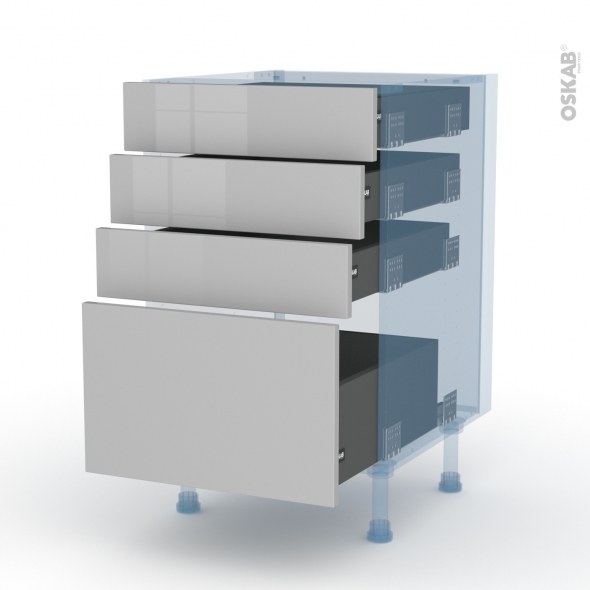 IVIA Gris - Kit Rénovation 18 - Meuble casserolier  - 4 tiroirs - L50xH70xP60