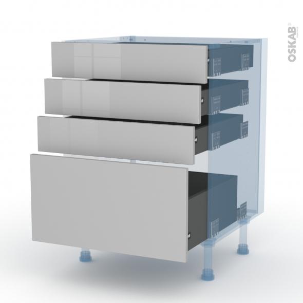 IVIA Gris - Kit Rénovation 18 - Meuble casserolier  - 4 tiroirs - L60xH70xP60
