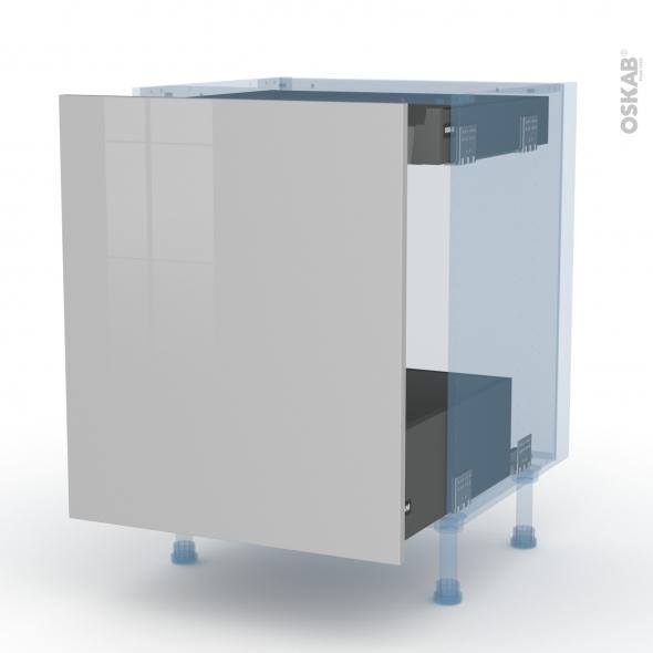 IVIA Gris - Kit Rénovation 18 - Meuble bas coulissant  - 1 porte -1 tiroir anglaise - L60xH70xP60