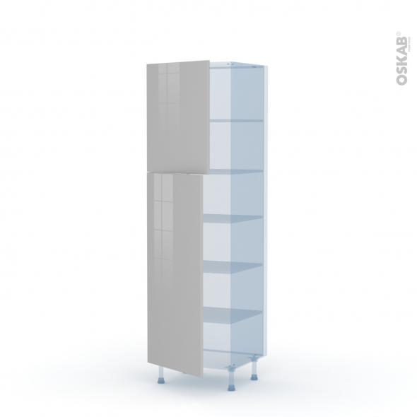 IVIA Gris - Kit Rénovation 18 - Armoire étagère N°2721  - 2 portes - L60xH195xP60