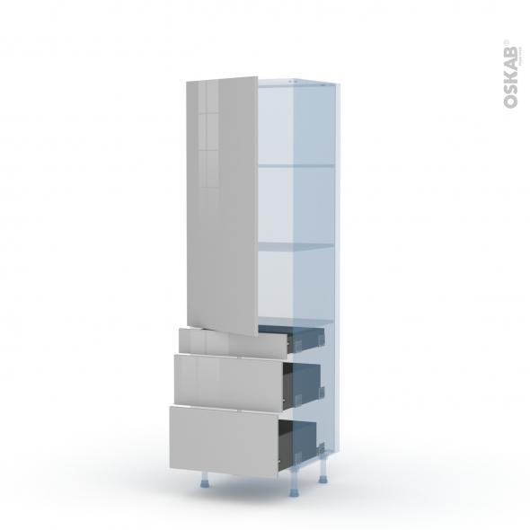 IVIA Gris - Kit Rénovation 18 - Armoire étagère N°2758  - 3 tiroirs casserolier - L60xH195xP60