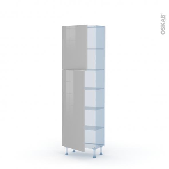 IVIA Gris - Kit Rénovation 18 - Armoire étagère N°2127   - Prof.37  2 portes - L60xH195xP37,5