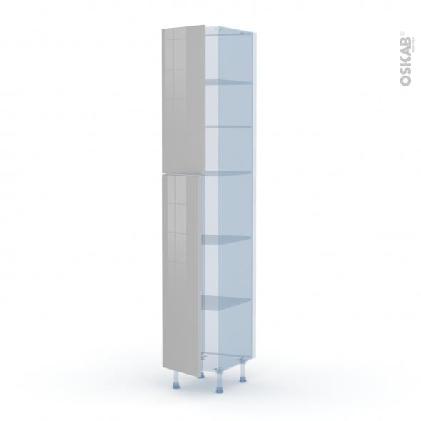 IVIA Gris - Kit Rénovation 18 - Armoire étagère N°2326  - 2 portes - L40xH217xP60