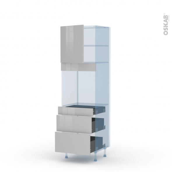IVIA Gris - Kit Rénovation 18 - Colonne Four N°1658  - 1 porte 3 tiroirs - L60xH195xP60