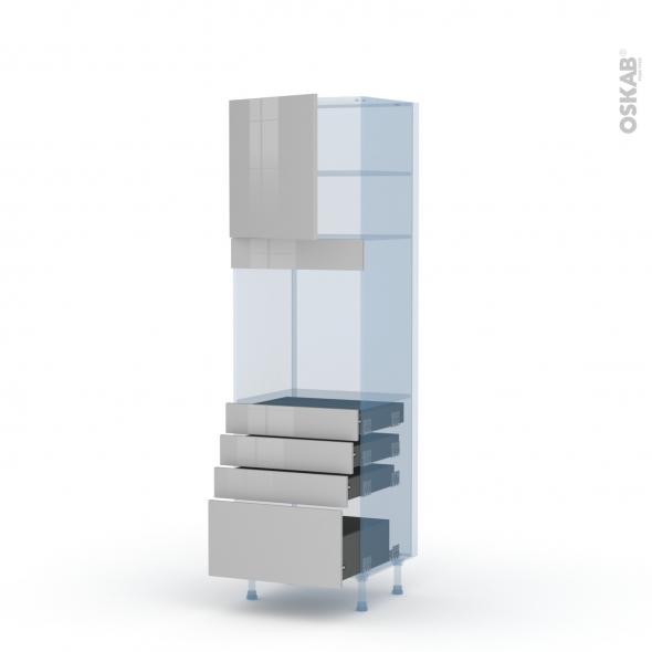 IVIA Gris - Kit Rénovation 18 - Colonne Four N°1659  - 1 porte 4 tiroirs - L60xH195xP60
