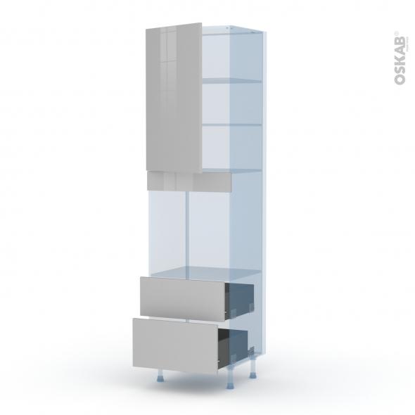IVIA Gris - Kit Rénovation 18 - Colonne Four N°2458  - 1 porte 2 casseroliers - L60xH217xP60