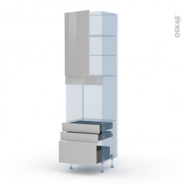 IVIA Gris - Kit Rénovation 18 - Colonne Four N°2459  - 1 porte 3 tiroirs - L60xH217xP60