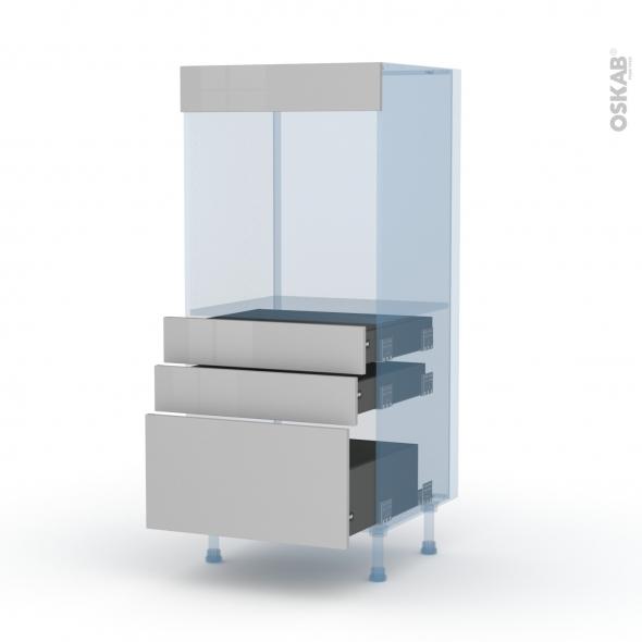 IVIA Gris - Kit Rénovation 18 - Colonne Four N°59  - 3 tiroirs - L60xH125xP60